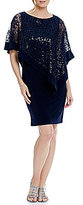R & M Richards Sequin Lace Asymmetrical Cape Dress