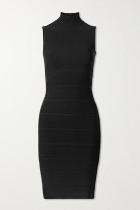Herve Leger Icon Bandage Turtleneck Dress - Black