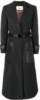 Fendi belted FF motif overcoat