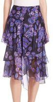 Jason Wu Ruffled Floral Chiffon Skirt
