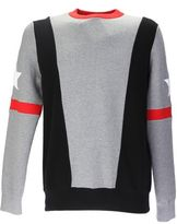 Givenchy Black, Grey And Red Bands Cotton Jumper With Star Patches