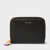 Paul Smith Women's Small Black Leather Zip-Around Purse With 'Artist Stripe' Interior