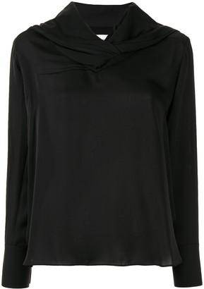 AKIRA NAKA long sleeve draped neck blouse