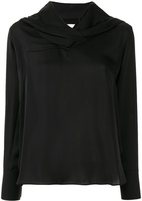 AKIRA NAKA Long Sleeve Draped Neck Blouse