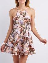 Charlotte Russe Floral Print Skater Dress