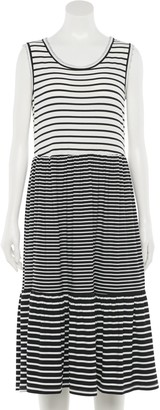 Nina Leonard Women's Striped Tiered Dress