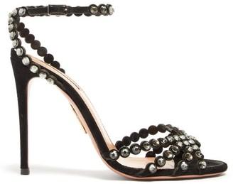 Aquazzura Tequila 105 Crystal-strap Suede Sandals - Womens - Black