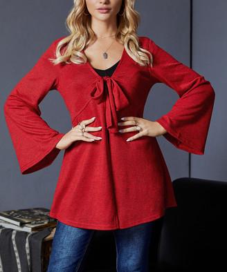 Suzanne Betro Women's Cardigans 109RED - Red Tie-Front Ruffle-Hem Cardigan - Women & Plus