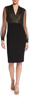 Badgley Mischka Metallic Mesh Dot Sheer-Sleeve Crepe Dress