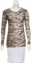 Torn By Ronny Kobo Long Sleeve Animal Print Top