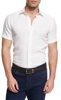 Ermenegildo Zegna Solid Short-Sleeve Sport Shirt, White