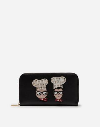 Dolce & Gabbana Zip-Around Wallet In Dauphine Calfskin With Designers Patches