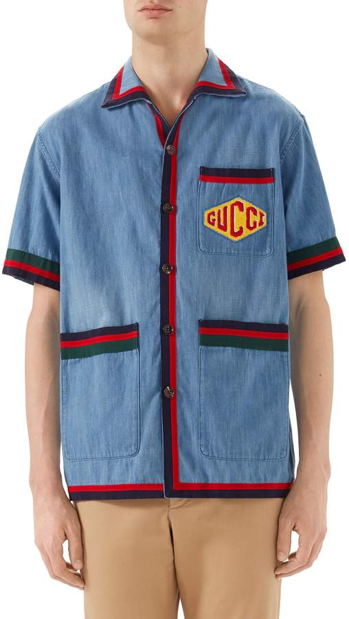 Gucci Stonewash Denim Bowling Shirt