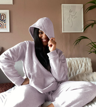 Asos DESIGN Curve premium tracksuit hoody / basic jogger with pocket details in neppy in lilac