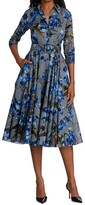 Thumbnail for your product : Samantha Sung Three-Quarter Sleeve Cotton Grey And Blue Peddles Shirtdress