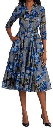 Samantha Sung Three-Quarter Sleeve Cotton Grey And Blue Peddles Shirtdress