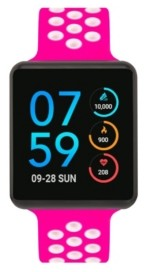 iTouch Women's Air Se Black Case with Fuchsia and White Perforated Strap 35mm - A Special Edition