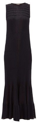 Maison Rabih Kayrouz Smocked Knitted Maxi Dress - Navy
