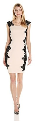 Jax Women's Extended Sleeve Sheath with Side Floral Embroidery