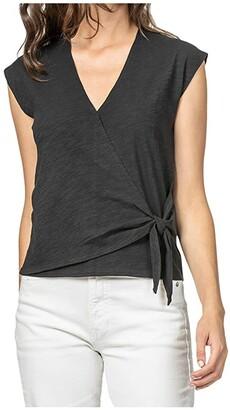 Lilla P Faux Wrap Top in Loose Knit Slub (Black) Women's Clothing