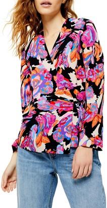 Topshop Floral Tie Wrap Blouse