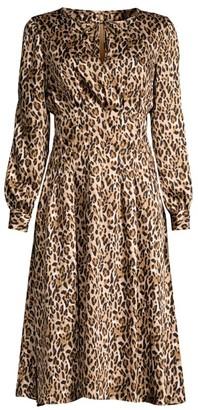 Donna Karan Leopard-Print Georgette Dress