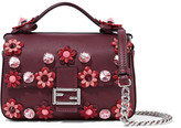 Fendi Double Baguette Micro Appliquéd Leather Shoulder Bag - Burgundy
