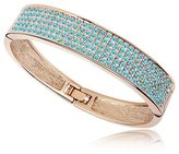 Bangle Bracelet made with a Blue Crystal from Swarovski and Gold plated CRY A153 G - Blue Pearls