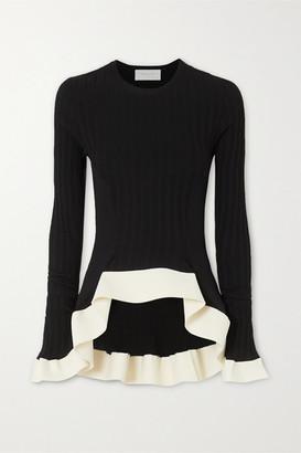 Esteban Cortazar Asymmetric Ribbed-knit Sweater - Black