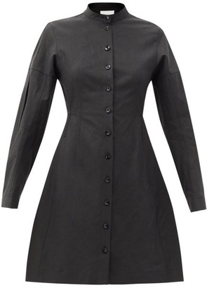 Jil Sander Long-sleeve Flared Linen Dress - Black