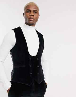 Twisted Tailor super skinny fit suit vest in black velvet