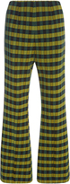 Marni Flared Checkered Wool Trousers