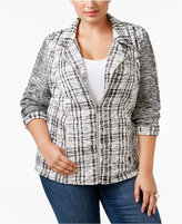 Style&Co. Style & Co Plus Size Jacquard Plaid Jacket, Only at Macy's