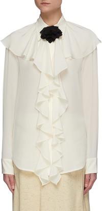 Victoria Beckham Ruffle neck silk blouse