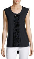 Elie Tahari Harley Sleeveless Feather-Trim Knit Top