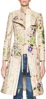 Alexander McQueen Floral-Embroidered Leather Zip Jacket, Multi