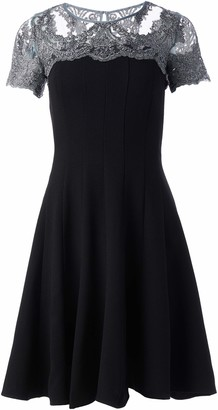 Chetta B Women's Fit and Flare Dress with Embroidered Silver Lace