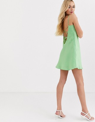 Finders Keepers Yasime mini satin slip dress in lime green