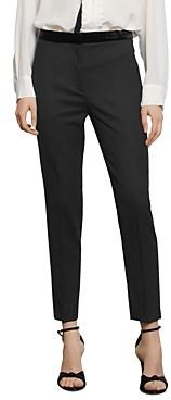 Sandro Voyou Cropped Velvet Detail Pants