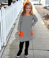 Beary Basics Black & Orange Stripe Tunic & Black Leggings - Toddler & Girls