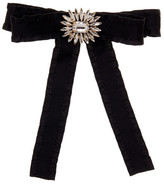 Cara Accessories Black Ruffle Bow Pin with Floral Embellishment