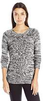 Notations Women's Long Sleeve Crew Neck Marled Mix Stitch Cable Pullover Sweater