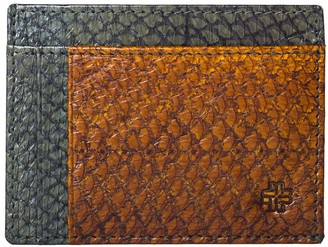 Mayu Rio Fish Leather Card Wallet Moss and Cognac