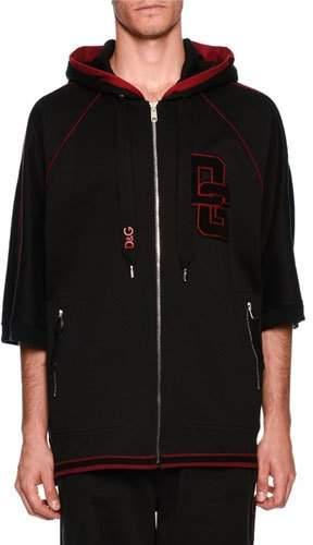 Dolce & Gabbana Patched Half-Sleeve Zip-Front Hoodie