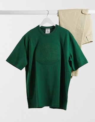 Lacoste oversized tonal logo t-shirt in green