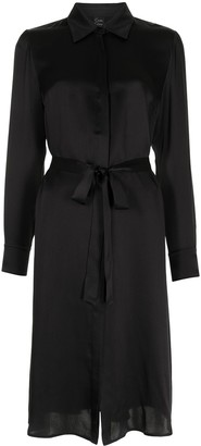 Carine Gilson Tie-Waist Satin Shirt Dress
