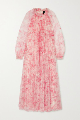 Needle & Thread Toile De Jouy Tiered Ruffled Floral-print Tulle Maxi Dress - Pink