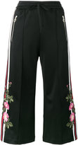 Gucci embroidered cropped track pants - women - Cotton/Polyester - XS