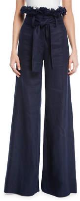 Alexis Sweeney Linen Wide-Leg Frayed Pants