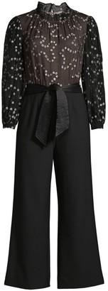 Rebecca Taylor Metallic Dotted Silk Wide-Leg Jumpsuit